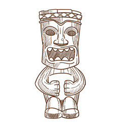 Hawaiian totem wooden statue with open mouth vector