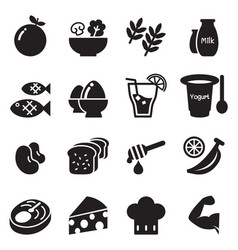 Healthy food diet food icons set vector