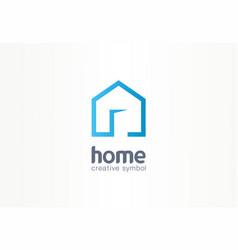 Home creative symbol concept open door building vector