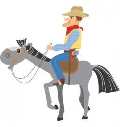 Horse and cowboy vector