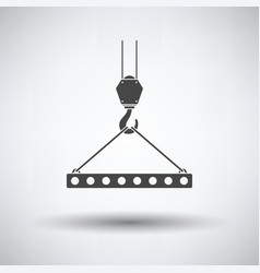 Icon of slab hanged on crane hook by rope slings vector