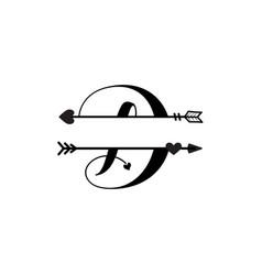 Initial d love monogram split letter isolated vector