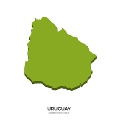 Isometric map of Uruguay detailed vector image