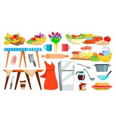 kitchen equipment icon kitchenware food vector image