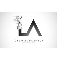 La letter logo design with black smoke vector