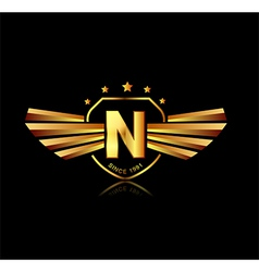 Letter N winged crests logo Alphabet logotype vector image