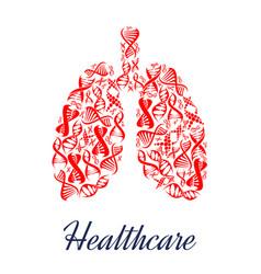 Lungs organ healthcare dna symbol vector