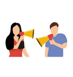 man and woman screaming in loudspeaker sound vector image