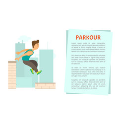 man running roof parkour extreme sport vector image