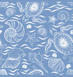 Marine lie seamless pattern seashell turtle vector