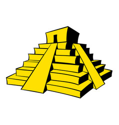 Mayan pyramid icon cartoon vector