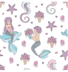 mermaid pattern wedding underwater sea ocean vector image