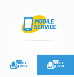 mobile service logo set with silhouette phone vector image