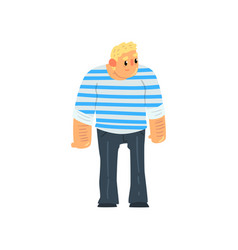 Muscular sailor man seaman character in striped vector