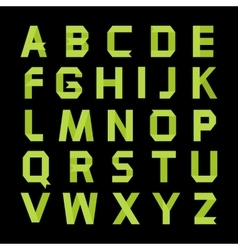 Paper green color alphabet vector image