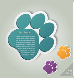 paw banner animal pet footprint vector image