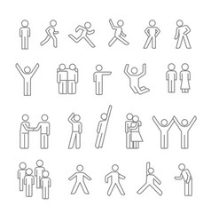 people isolated linear icons human silhouettes vector image