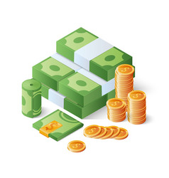Pile of cash and gold coins heap of dollar bills vector