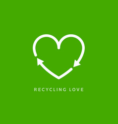 recycle heart arrow sign recycle love icon vector image