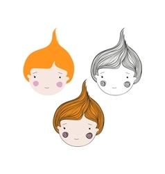 Red Hair Girl Head Avatar Set vector