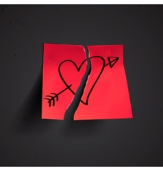 Red small sticky note with heart vector image