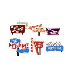retro signs collection vintage bright billboards vector image