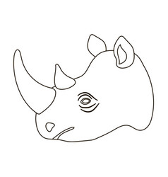 Rhinoceros icon in outline style isolated on white vector