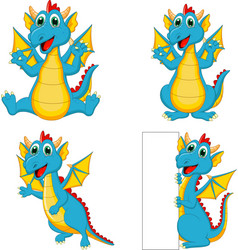 set cartoon dragons with blank sign vector image