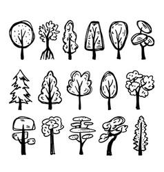 set hand-drawn trees vector image