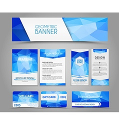 Set of blue corporate style polygonal vector image