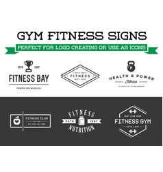 set of fitness aerobics gym elements and logotype vector image