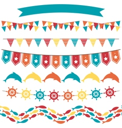 Set of multicolored flat sea buntings garlands vector