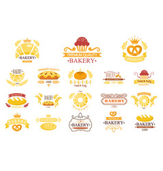 Set of vintage bakery labels emblems with vector