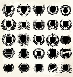 Set shield and laurel wreath set vector image