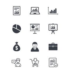 Statistics accounting icons charts signs vector