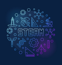 Steam concept outline colorful circular vector