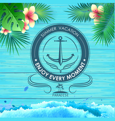 summer poster on blue wooden background vector image