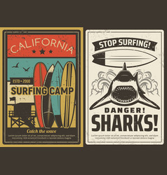 surfing camp and shark danger retro poster vector image