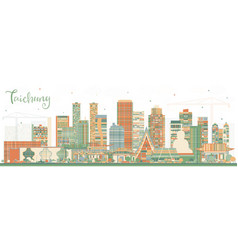 Taichung taiwan city skyline with color buildings vector