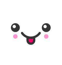 tease with tongue kawaii cute emotion face vector image