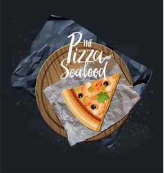 The seafood pizza slice without background vector