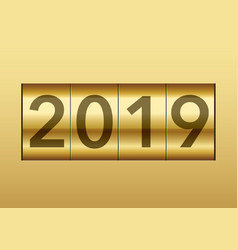 The year 2019 displayed on a mechanical counter vector