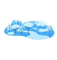 winter landscape with forest trees and bushes vector image