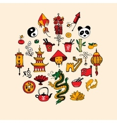 Icons of China decorated in circle vector image vector image