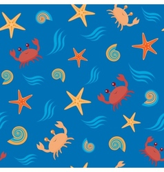 Seamless pattern with crabs and shells vector image
