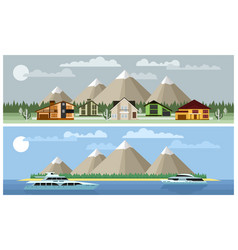 two background mountain landscapes vector image vector image