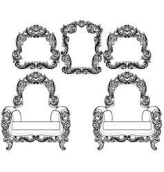 armchair and vintage frames set collection vector image
