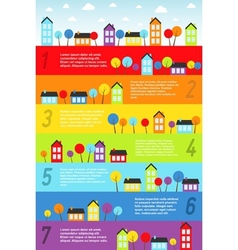 Banners with small town vector image vector image