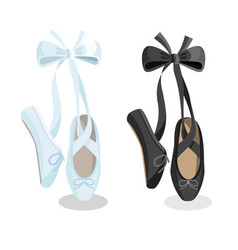black and white pointes female ballet shoes on vector image