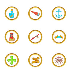 Columbus day party icons set cartoon style vector